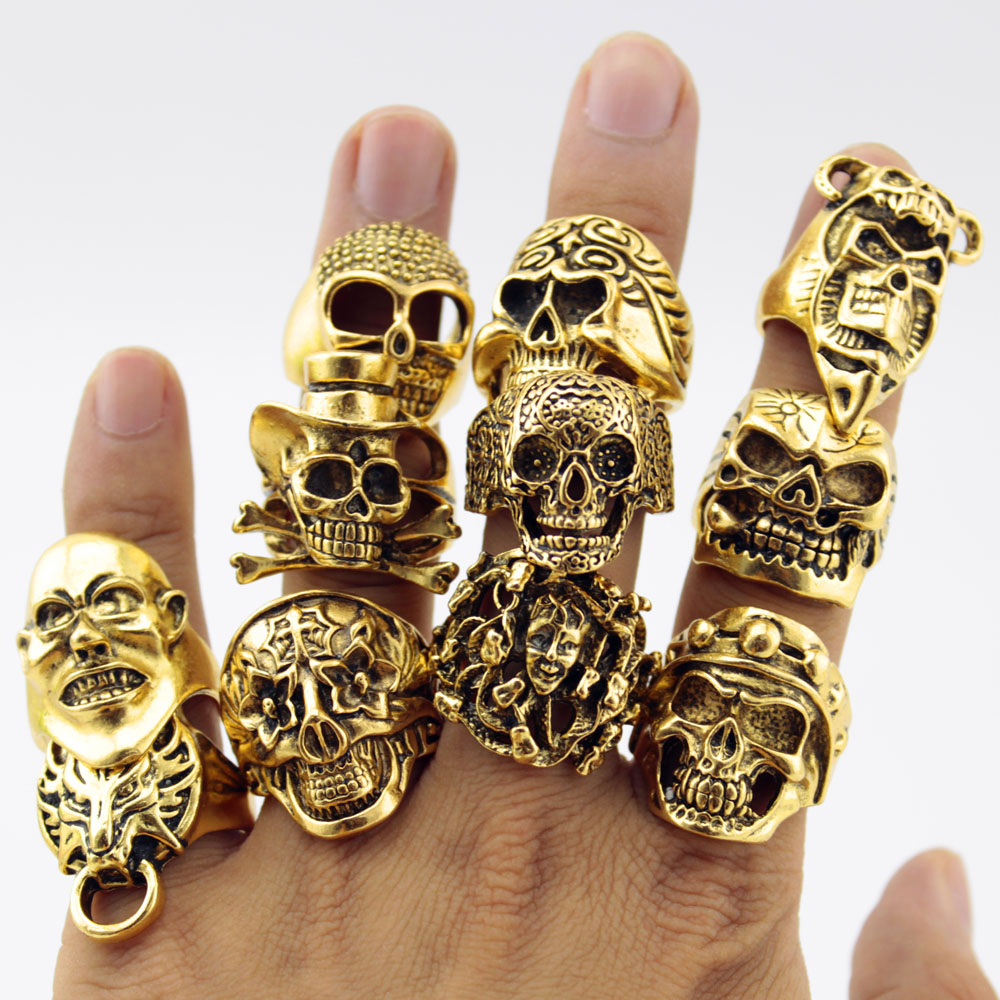 12 pcs lot charming ancient skull ring big ghost
