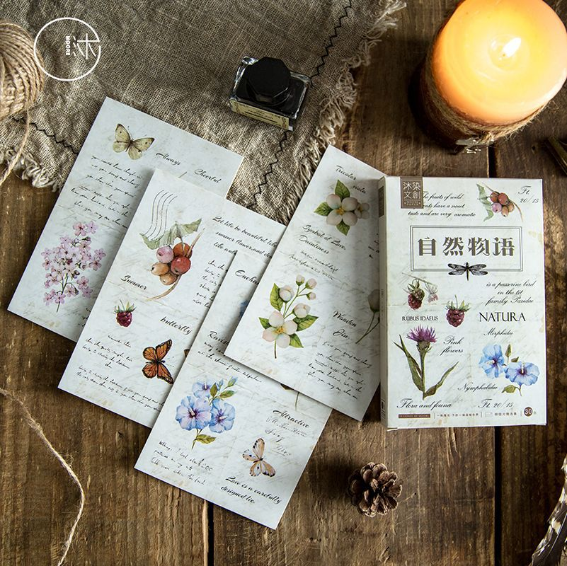 30 Sheets/Set Nature Plant Paper Postcard Greeting Card Birthday Bussiness Gift Card Set Message Card