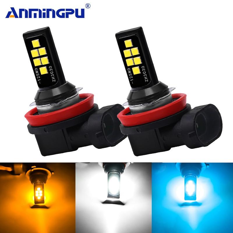 Anmingpu 2x Car Fog Lamp H11 Led Lamp 3000K 6000K 8000K H1 H3 Led H7 9005 HB3 9006 HB4 H9 H8 Led Canbus Car Led Fog Light Bulb