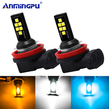 Anmingpu 2x Car Fog Lamp H11 Led 3000K 6000K 8000K H1 H3 H7 9005 HB3 9006 HB4 H9 H8 Canbus Light Bulb