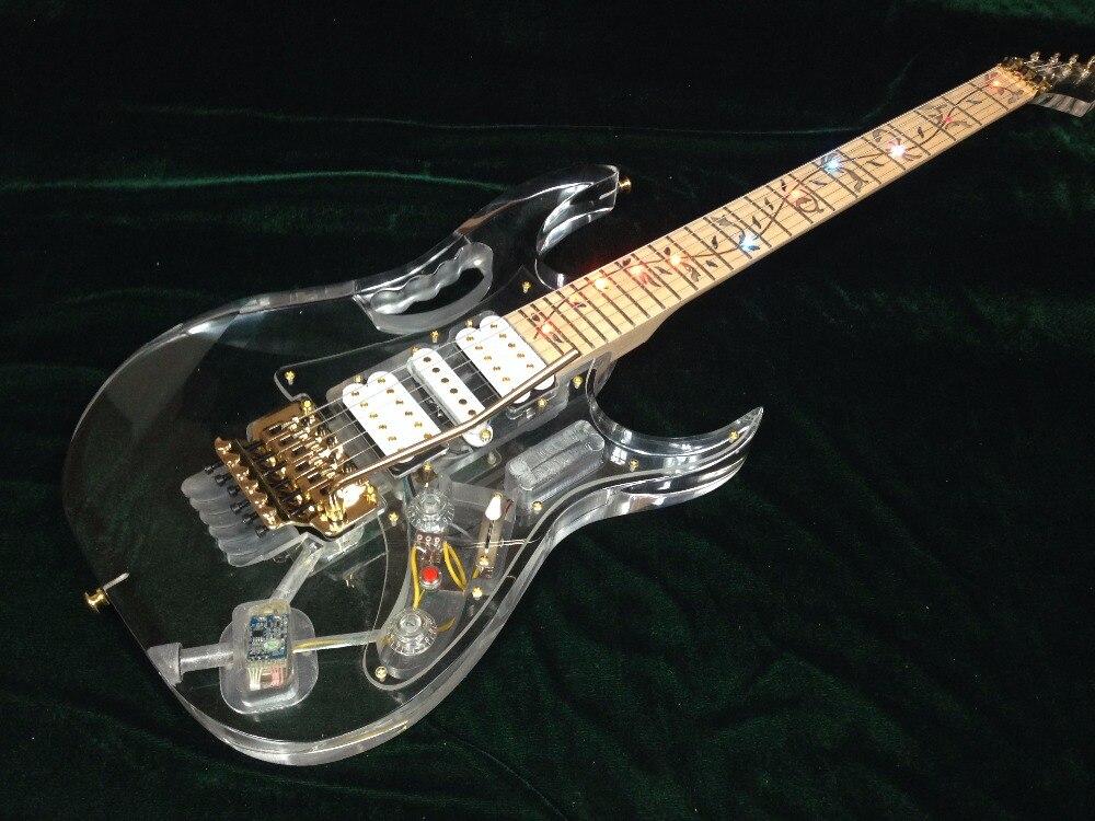 Cuerpo acrílico led luz flor incrustación oro hardware JEM guitarra eléctrica guitarra acrílica envío gratis
