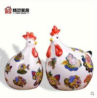 Europe ceramic creative hens statue home decor cock chicken lovers ornament craft room decoration porcelain animal figurine gift