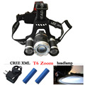 Zoom headlamp 3*CREE XML T6 Rechargeable Headlights 30W 4 mode LED Headlight Flashlight Lantern Torch LED Head light
