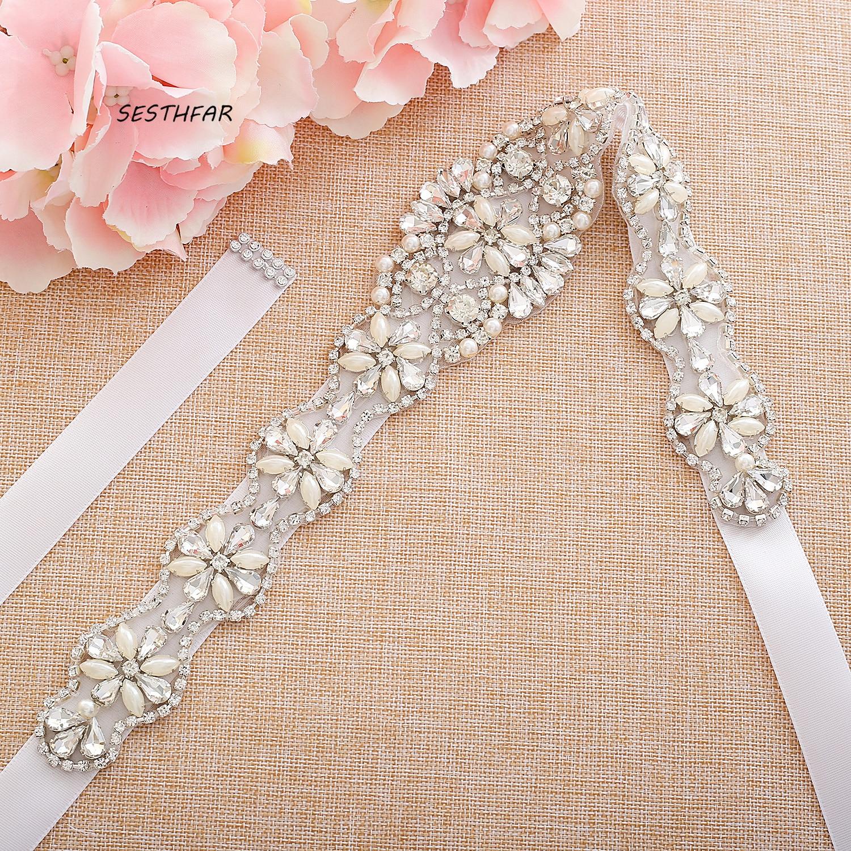 Crystal Belt Beaded Rhinestones Wedding Belt Pearls Bridal Belt  For Dress In Stock Wedding Accessories J131
