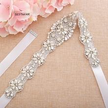 Crystal belt Beaded Rhinestones Wedding Belt Pearls Bridal B