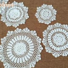 Round lace cotton table place mat pad Cloth crochet Handmade placemat cup mug wedding tea coffee coaster dining doily kitchen