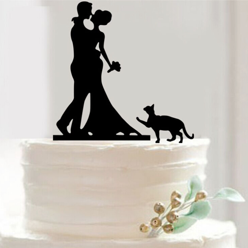 Pretty Bride and Groom cat Cake Toppers Couple Wedding Romantic Cake Topper for Wedding Cake