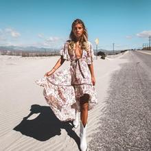 Jastie 플로랄 프린트 여름 드레스 boho chic dresses 가운 high-low hem 히피 비치 드레스 여성 의류 2019 new female vestidos