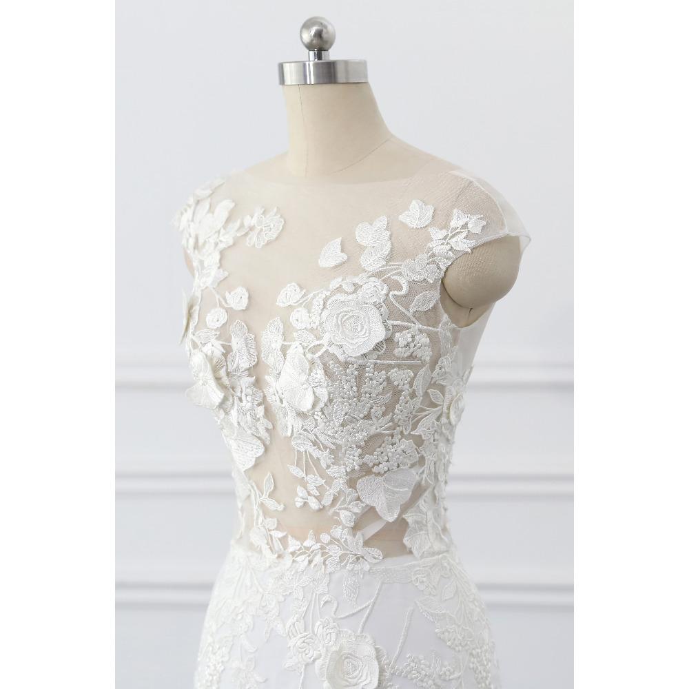 Lover Kiss Wedding Dress 2017 Vintage Mermaid Lace Appliques Bead Robe de Mariage Sexy Back Bride Dresses Vestido de Noiva 6