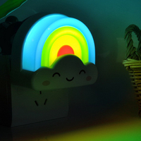 Home decoration Mini Cute Rainbow Cloud LED Night Light Lamp with Voice and Light Sensor
