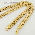 Mens Gold Plated Stainless Steel Flat Byzantine Chain Necklaces Jewelry  Hip Hop Gift, Wholesale Free Shipping WN101