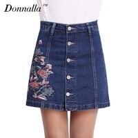 Donnalla Womens Zomer Rok Mode Elegant Geborduurde Bloemen Dames Plus Size Jeans Shorts Broek Mini Sexy Denim Rokken Vrouwen