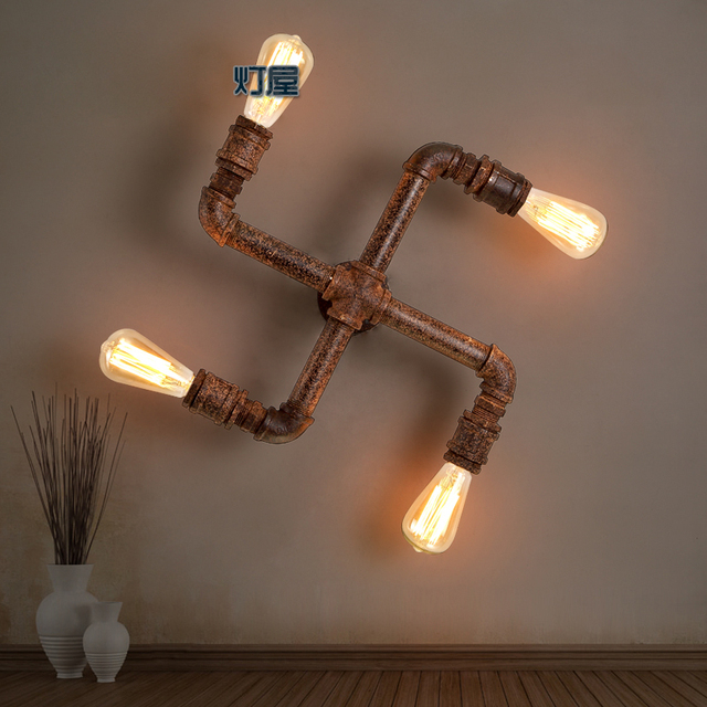 american loft vintage water pipe iron wall lamp e27 edsion bulb lamp nostalgic light in wall. Black Bedroom Furniture Sets. Home Design Ideas