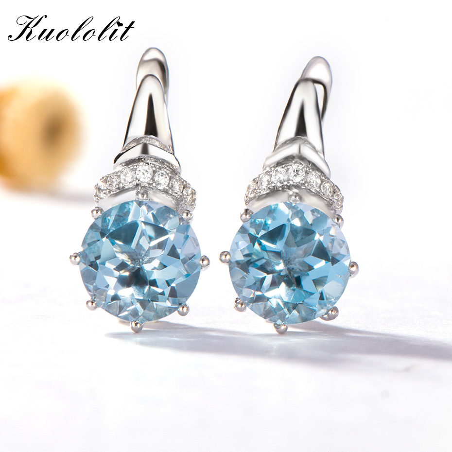 Kuololit 4.7ct Natural Sky Blue Topaz Clip Earrings For Women Genuine 925 Sterling Silver Vintage Fine Jewelry Women Girl Gift