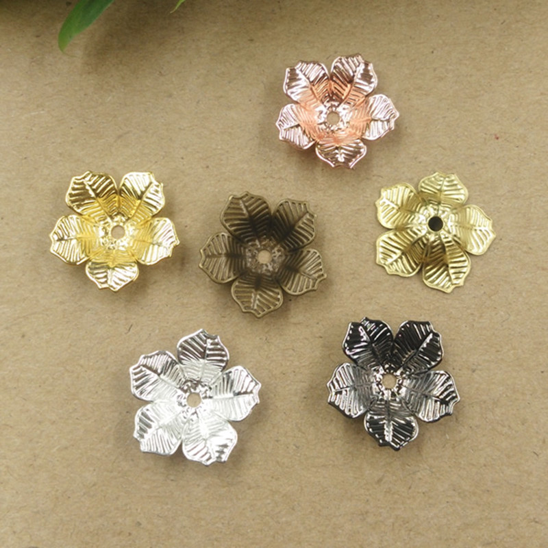 16mm*4mm 7 Colors Plated Flowers Filigree Bead Caps Connectors Charms Copper Material DIY Jewelry Component