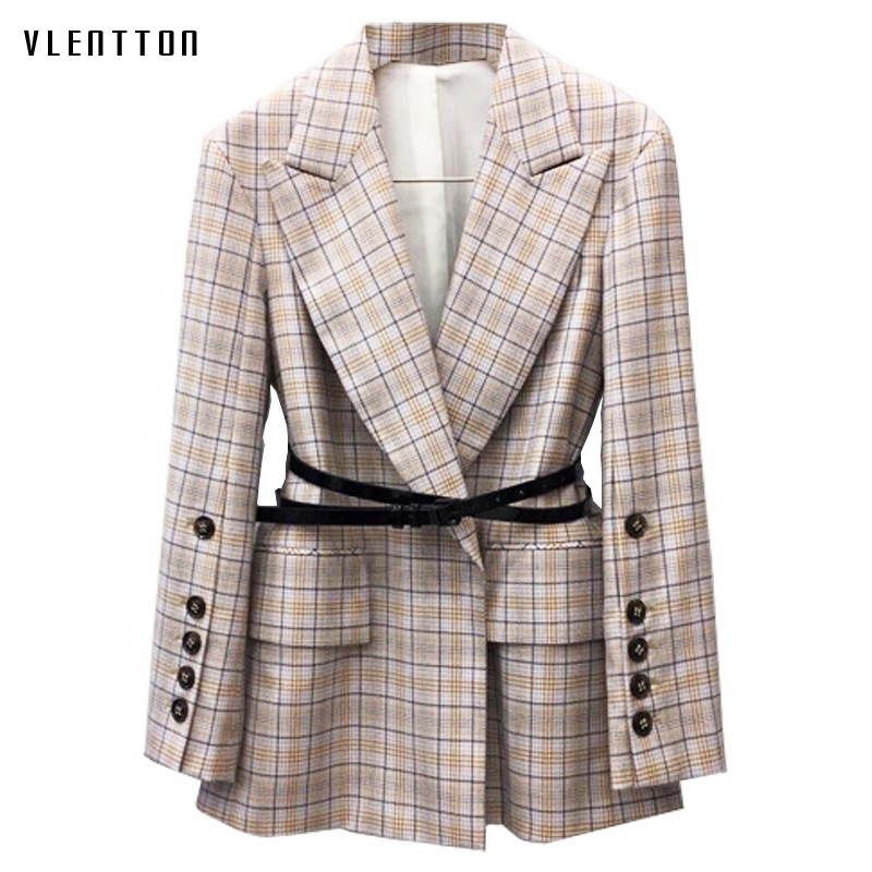 2019 New Vintage Women's Jackets Blazer Long Sleeve Sashes Elegant Office Long Blazer Feminino Spring Autumn Plaid Blazer Women