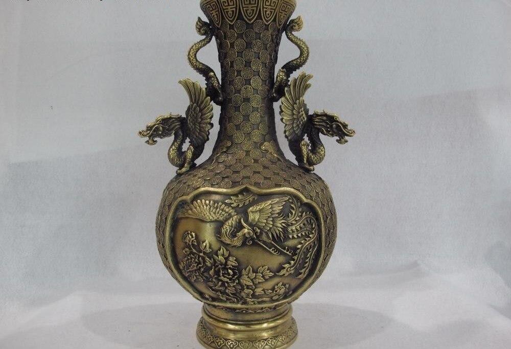 Royal Palace Brass Copper Feng Shui Two Dragon Ear Phoenix Bird Bottle Pot Vase