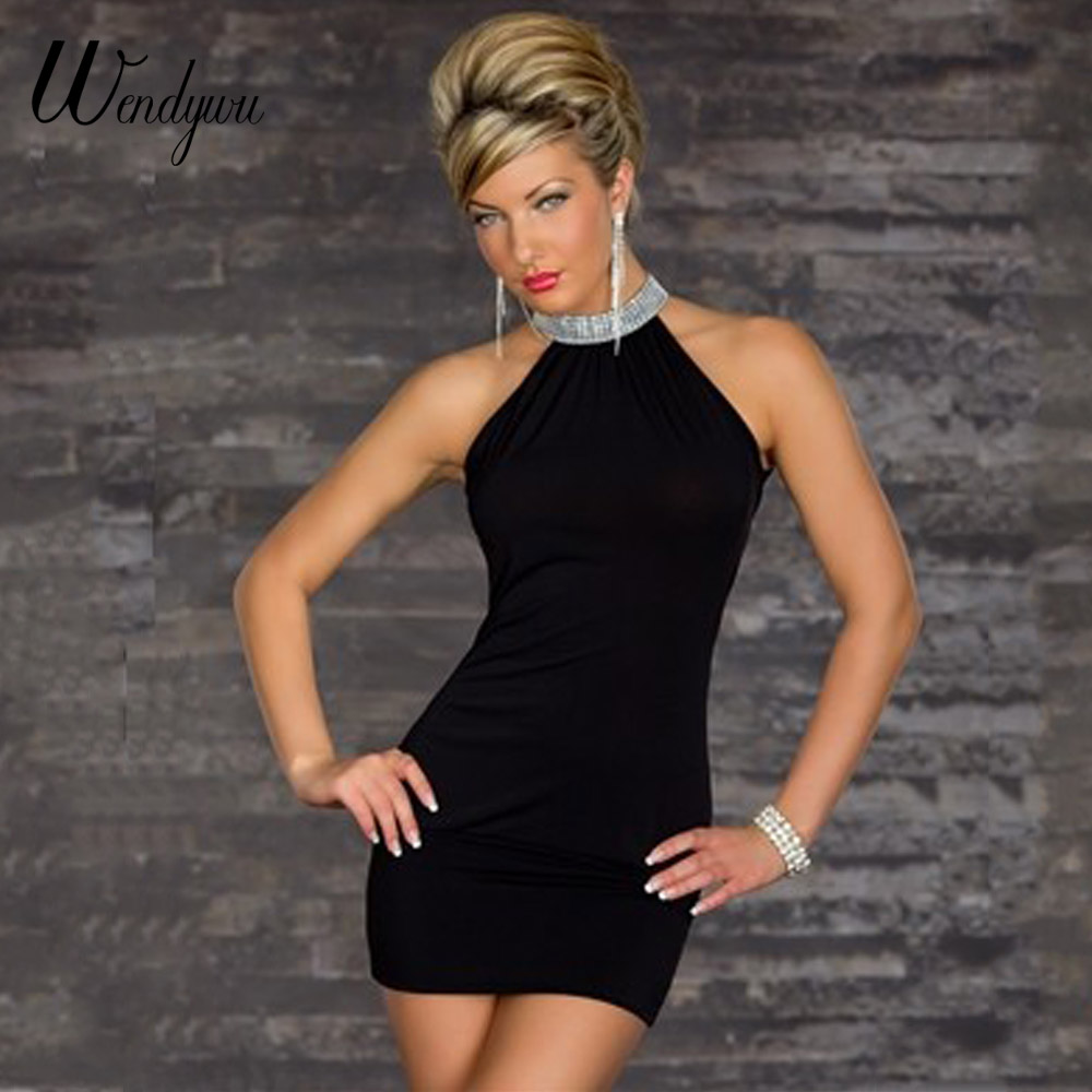 Wendywu Hot Sale Sexy Night Party Summer Sleeveless Black Halter Backless Bodycon Mini Dress