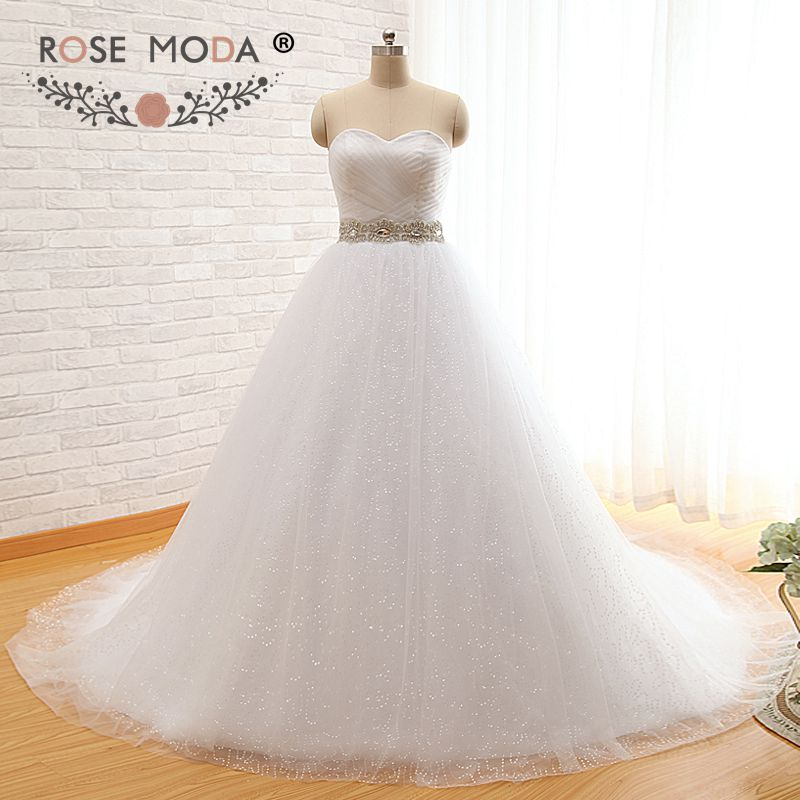 Strapless Sweetheart Bling Princess Wedding Dress with Crystal Sash Sequined Tulle Slight V Back Ball Gown Real Photos
