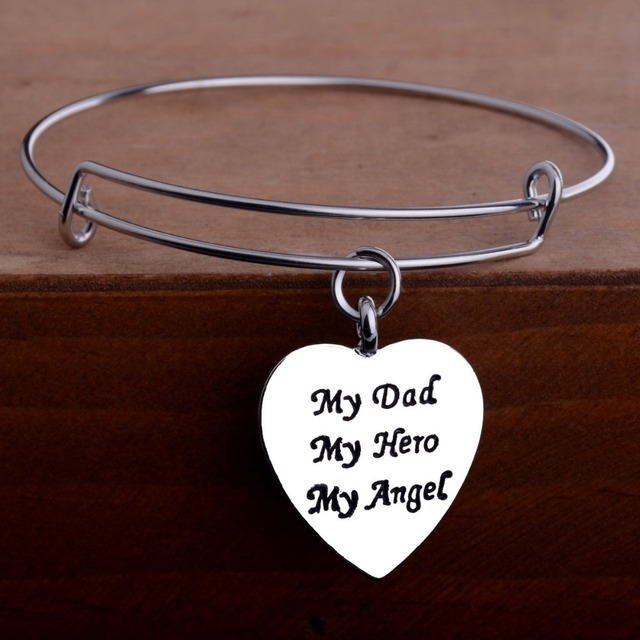 Love Heart Bangle My Dad My Hero My Angel Pendant Family Fathers Day