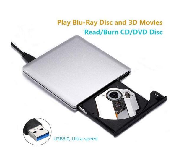 Unidade Bluray BD-RE Burner Escritor USB 3.0 Externo Gravador de DVD Gravador de DVD +/-RW DVD-RAM Jogador 3D Alumínio prata