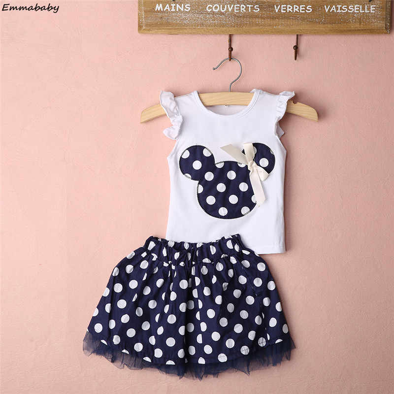 ed4464d00d4 Cute Cartoon Kids Baby Girls Clothing Minnie Mouse Sleeveless T-shirts Tops Party  Dress Vest