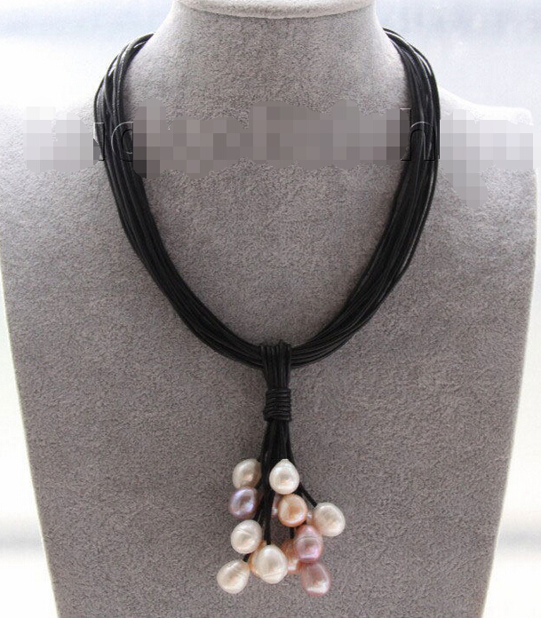 Free shipping@@@@@ VF563 A> Choker 17 15row 14mm MIX white pink purple pearls Black leather necklace j9552 a