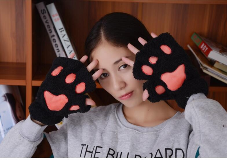 Women Cute Winter Semi-finger Plush Cat Fox Warm Glove Cartoon Paw Double Layer Hand Warmer Touch Screen Fingerless Mitten