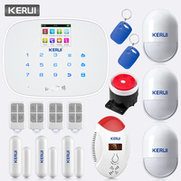 KERUI G19 Беспроводная GSM SMS домашняя охранная сигнализация детектор угарного газа детектор движения PIR датчик двери Сигнализация от грабителей