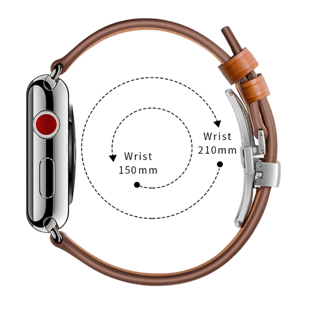 Italy Genuine Leather Watchband for iWatch Apple Watch 38mm 40mm 42mm 44mm Series 5 4 3 2 1 Band Butterfly Clasp Strap Belt