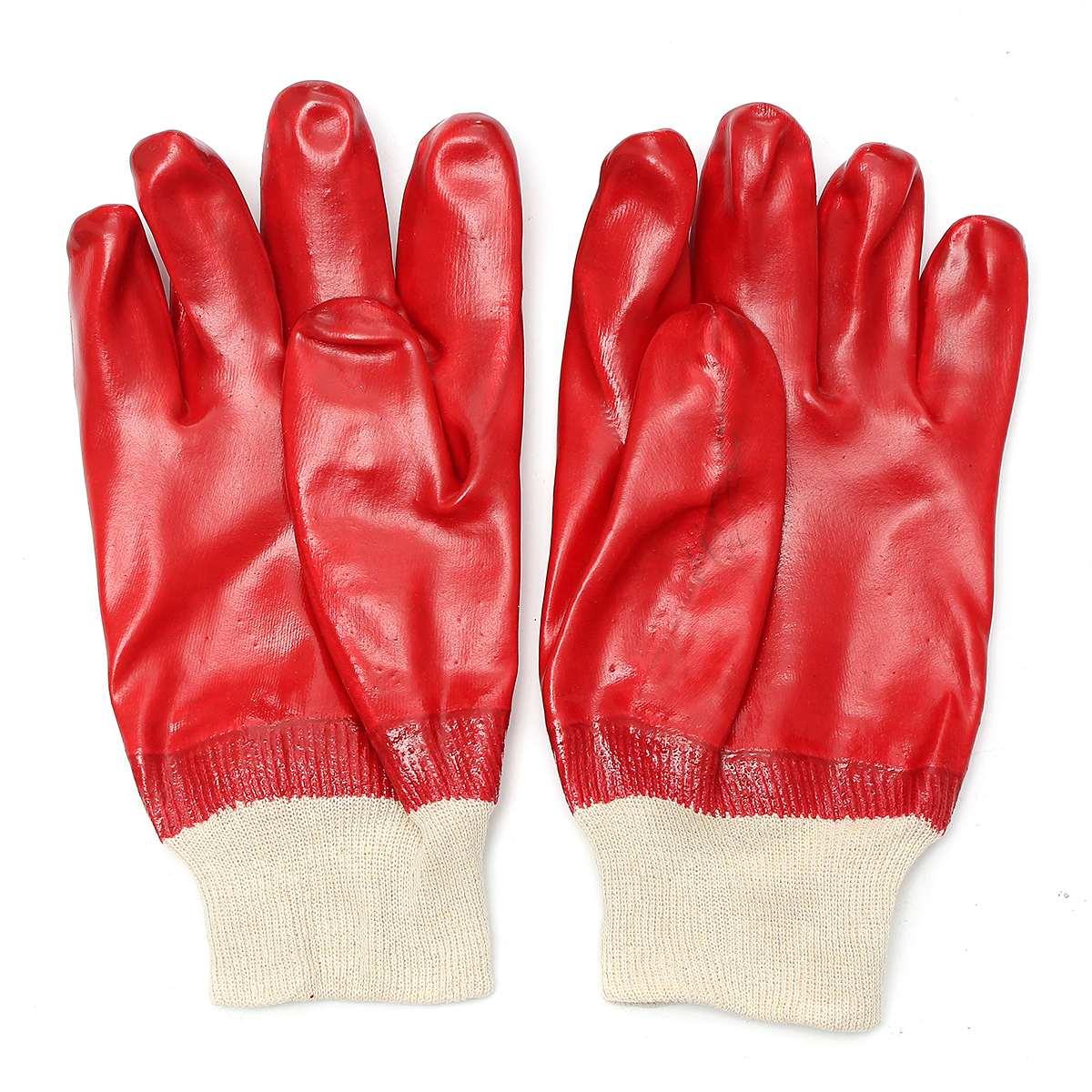Safurance 12 Pairs Rękawice Dziane Wrist Czerwony Chemiczne PCV Bezpieczeństwa Anti skid Wodoodporna Pracy Bezpieczeństwo Ochrona Rąk