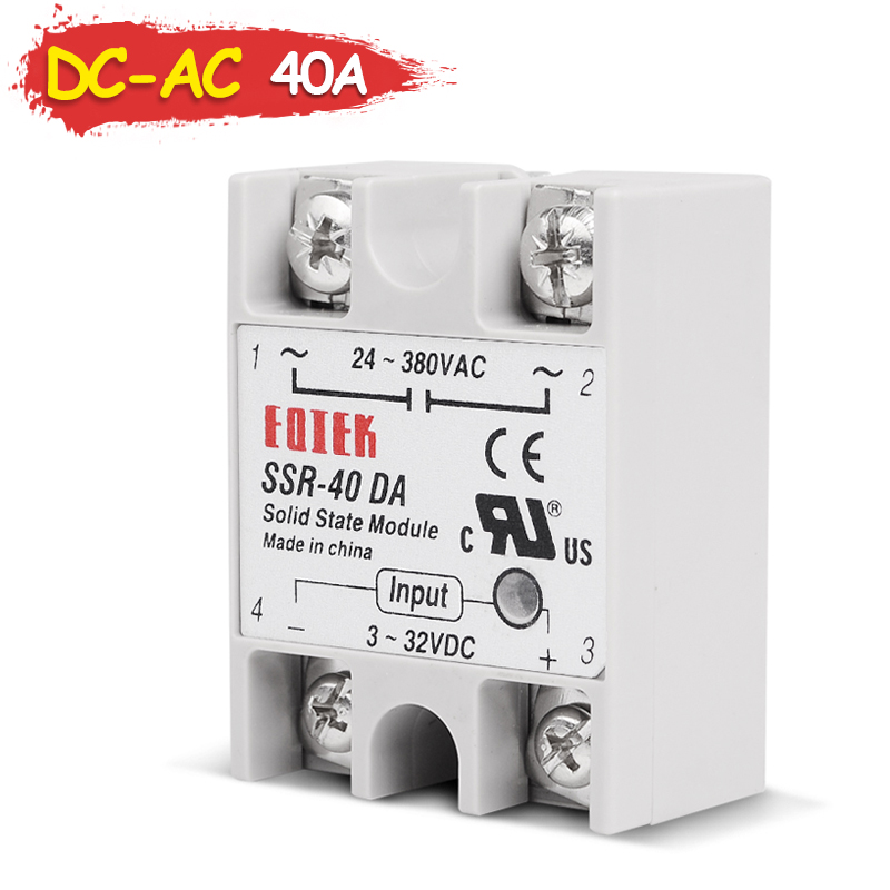 Industrial 40A DC-AC Singh Phase SSR Solid State Relay SSR-40DA Input 3-32V DC to AC Output 24-380V 40DA high quality temprature control solid state relay ssr 40a 3 32v dc 24 380v ac with heat sink