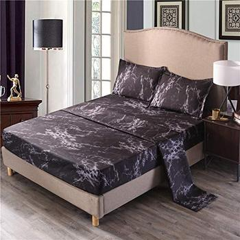 Marble Sheet Set (Flat Sheet +Fitted Sheet+Pillowcases), Brushed Bedding Sets