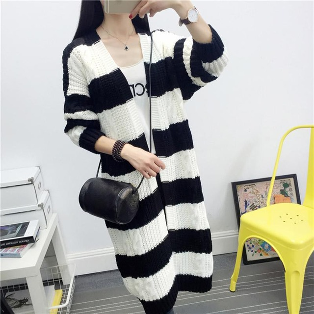 b25c1e4900a9 Women Fashion Korean Big Striped Long Sweater Female Casual Knitted Thick  Cardigans Cape Sweaters 2016 Autumn