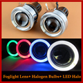 55W Universal Halogen Fog Lights Projector Lens Retrofit Yellow Light Kit With 2 LED Halo Angel Eyes Driving Lamps Fog Lamps