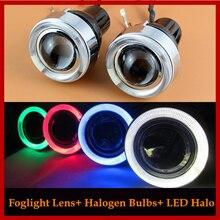 55 Вт Универсальный Галогенные Противотуманные Фары Объектива Модифицированной Желтый Свет комплект С 2 LED Halo Angel Eyes Вождения Противотуманные фары лампы