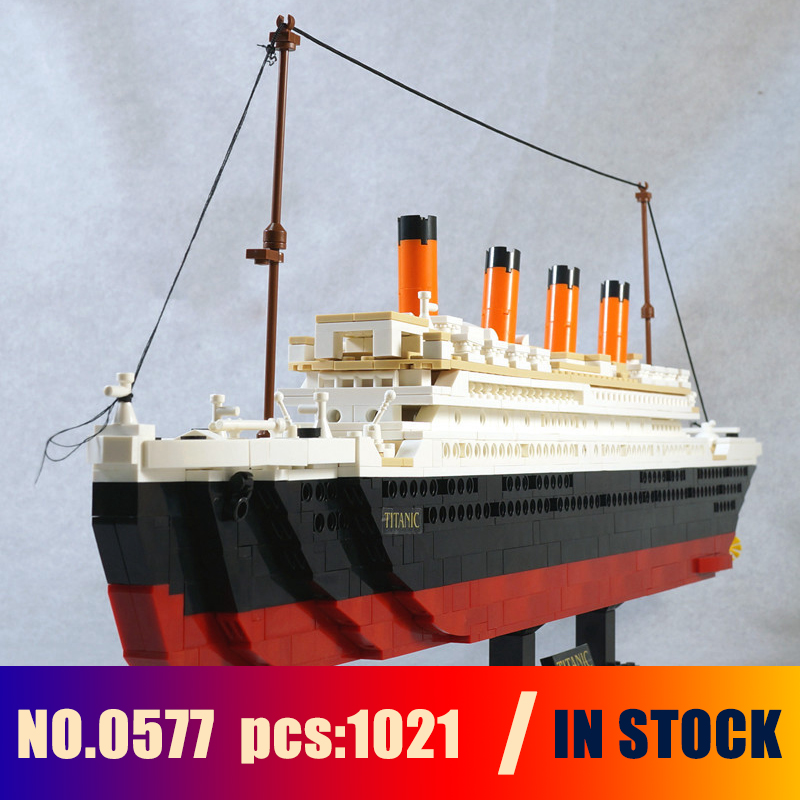 1021PCS Sluban 0577 Toy Cruise Ship RMS Titanic Boat 3D Model Building Blocks Compatible with lego brinquedos toys & hobbies loz diamond blocks technic bricks building blocks toy rms titanic ship steam boat model toys for children micro creator 9389