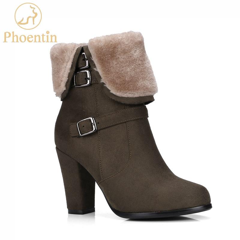 Kaki femmes bottes d'hiver avec fourrure 2019 zipper bottines avec boucle super hauts talons bout rond dame chaussures gris PHOENTIN PH137