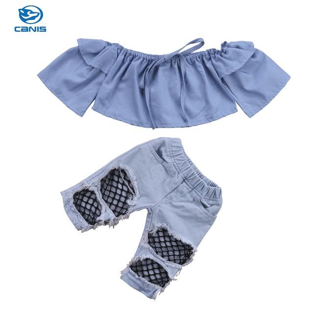aa4eba3daa4f69 Hot Fashion Toddler Kids Baby Girls Off Shoulder Tops Shirt Denim Pants  Hole Jeans Summer Outfit