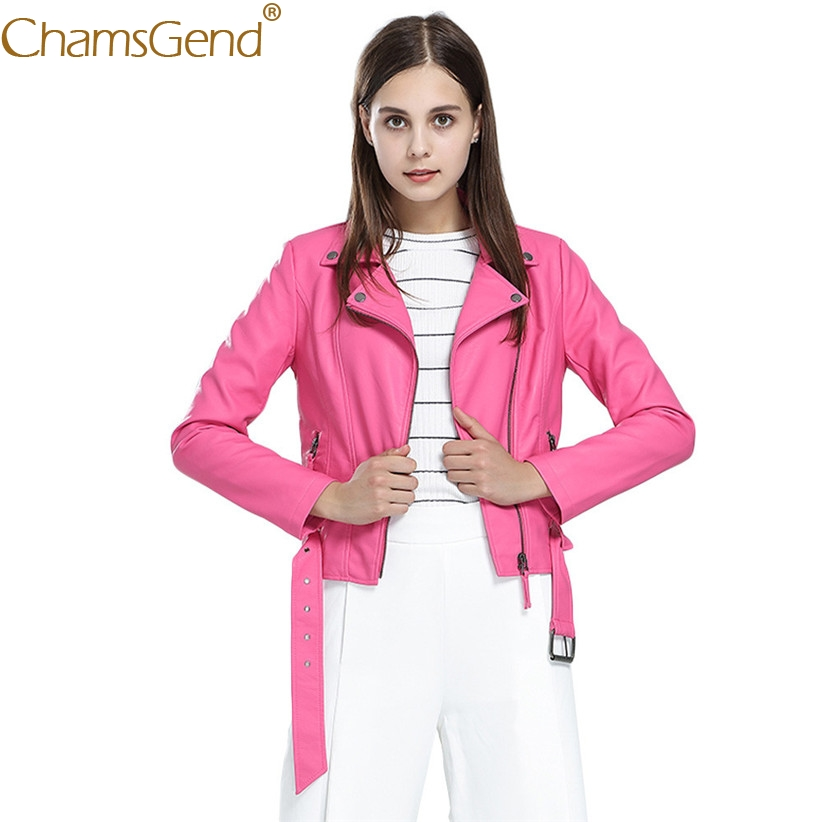 Chamsgend Drop Shipping Hot Hot Pink Short Jacket Women PU Leather Short Coat Crop Top 71013 ...