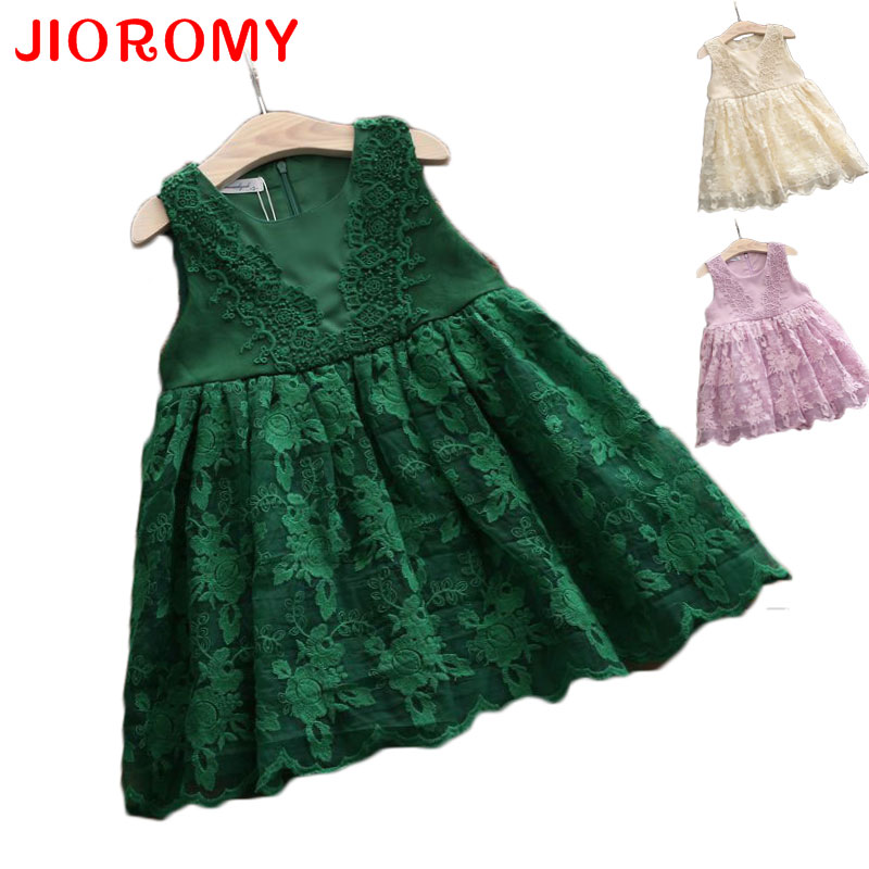 2017 Summer New Girl Dresses Children's Clothing Princess Sleeveless Lace Puff Dress Party Dress Fashion Vest Dress 4 Colors k1 ems dhl free shipping toddler little girl s 2017 princess ruffles layers sleeveless lace dress summer style suspender