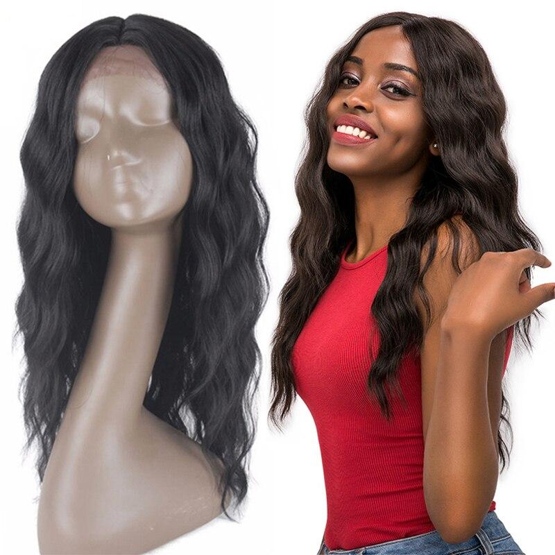 Perruque en dentelle naturelle longue douce pour femmes X-TRESS Ombre noir or couleur Blonde dentelle avant cheveux synthétiques perruque ondulée partie moyenne