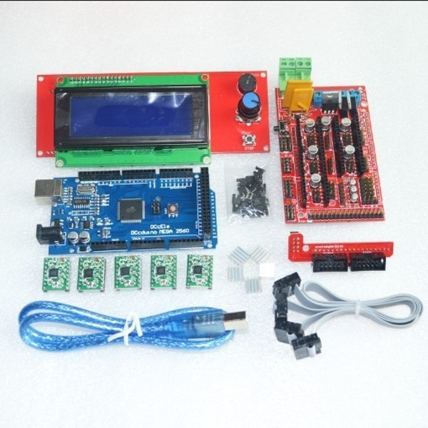 1 pcs Mega 2560 pcs RAMPS 1.4 Controlador + 5 R3 + 1 pcs A4988 Módulo de Driver De Passo/RAMPAS 1.4 2004 controle LCD para kit de Impressora 3D
