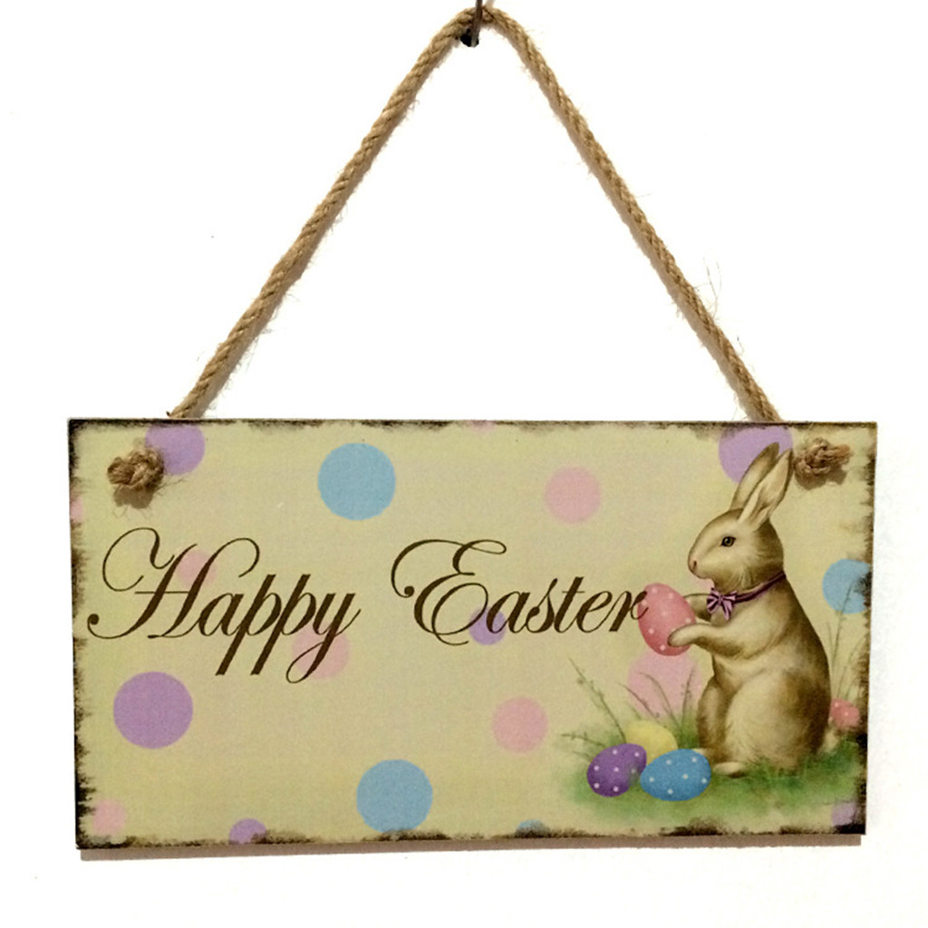 Wooden Easter Rabbit Stand Plaque Festival Decor DIY Handmade Hanging Ornaments