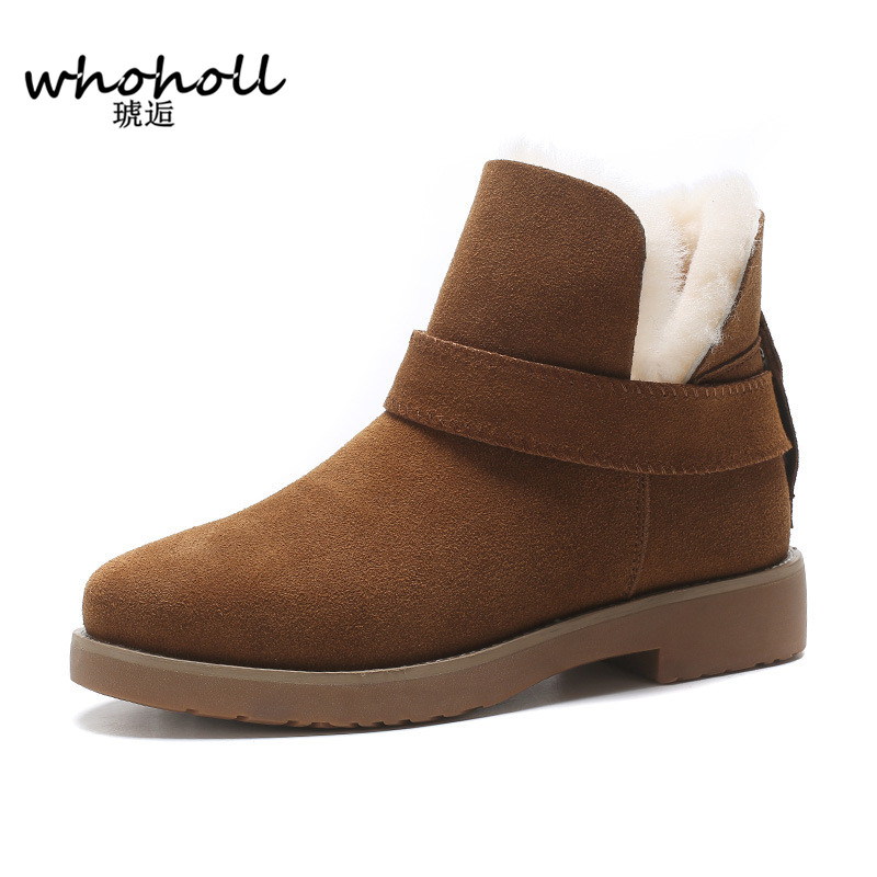 WHOHOLL Winter Fur Snow Boots for Women Big Size Women's Shoes Ankle Shoes Leather Shoes Thickening, Warm and Non Slip  Boots martin winter boots for men and men s winter snow boots warm cashmere waist leather shoes in winter thickening