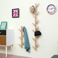 Nordic Bamboo Wooden Hanging Hook Hanger Hanging Tree Branch Shape Clothes Coat Rack Hook Creative Living Room Wall Hanging