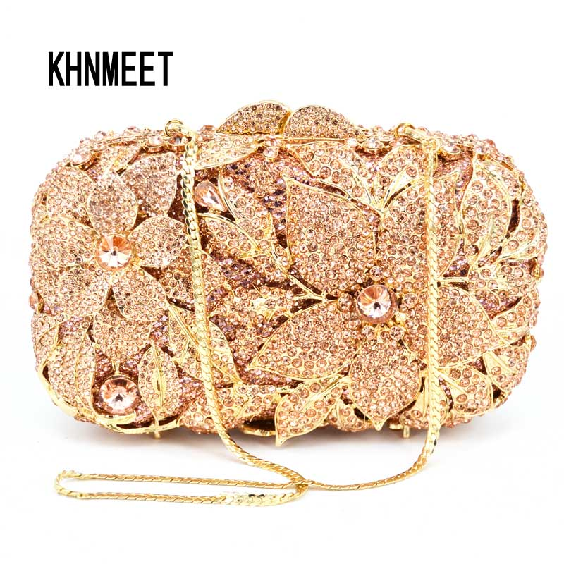 Fashion Luxury Flowers Party Ladies Evening Clutch Bags Box Floral Chain Women Shoulder Crossbody Bags Prom