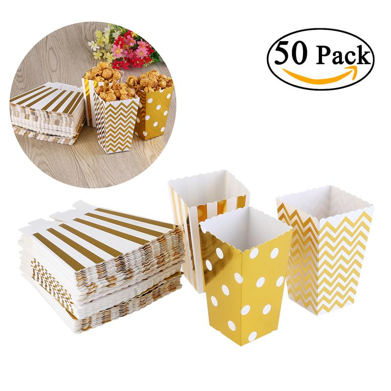 50pcs Popcorn Boxes Yellow Design Trio Miniature Scalloped Edge Cardboard Party Candy Container Treat Cartons