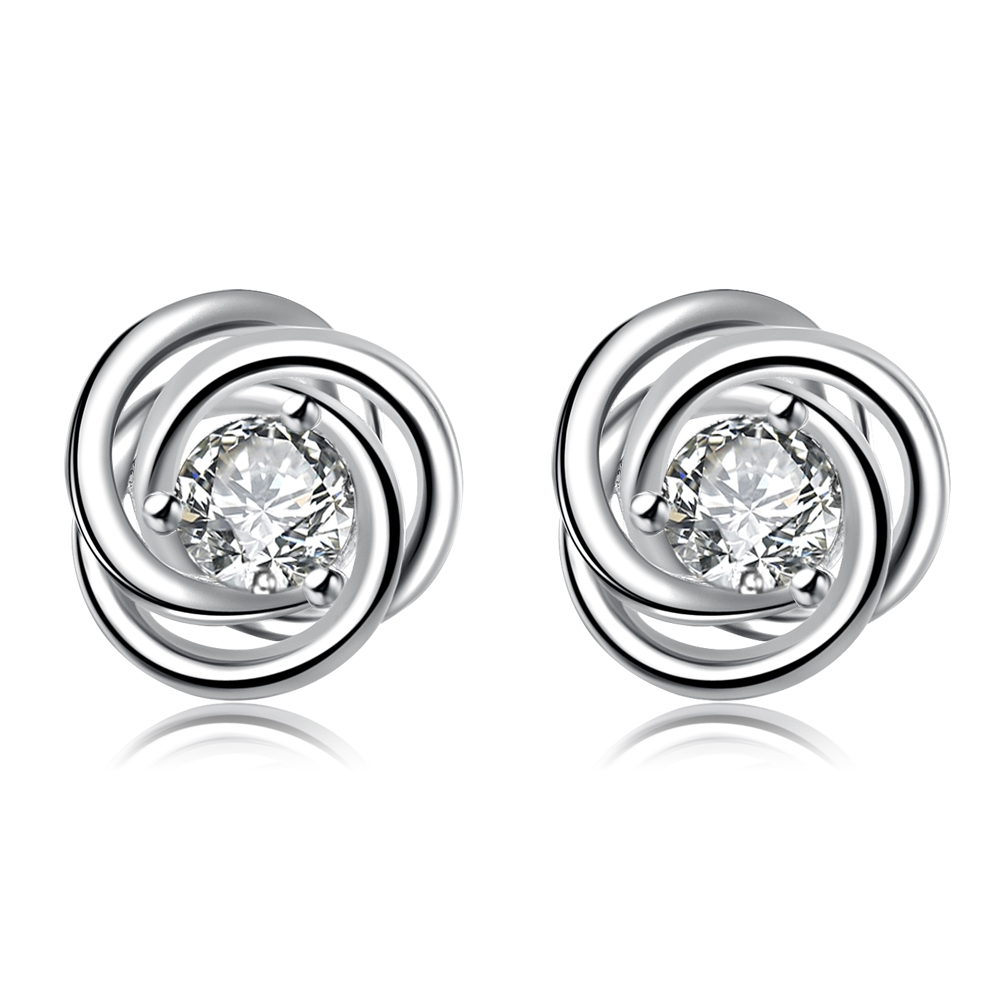 2017 new 925 sterling silver loverly rose with round crystal stone earring stud for women girl fine fashion trendy jewerly