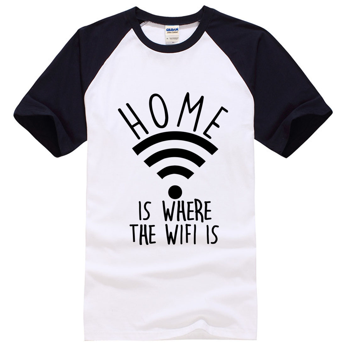 4efa9eaf2b9a6 Home Is Where The Wifi Is Mens Internet Fashion brand tops Fit T Shirt men  summer t shirt male funny t shirts cotton 100% tops-in T-Shirts from Men s  ...